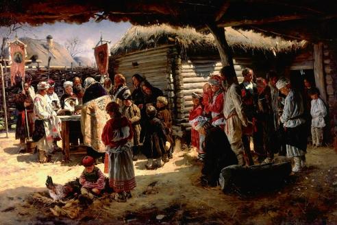 «Молебен на Пасху». В.Е. Маковский