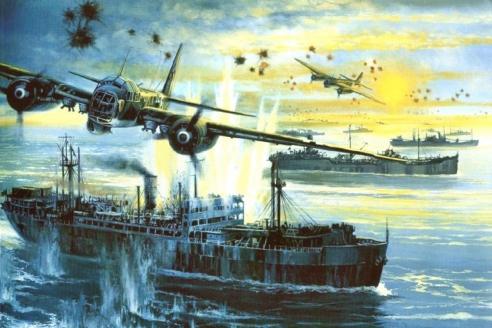 Немецкие бомбардировщики Ju-88 атакуют конвой