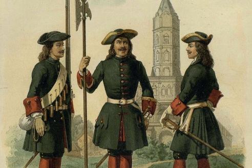 Преображенцы при Петре I. Слева направо: нижний чин, капрал, поручик