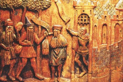 Рельефная панель, изображающая сцены торговли, предположительно, у ворот Новгорода 1360—1370 гг.