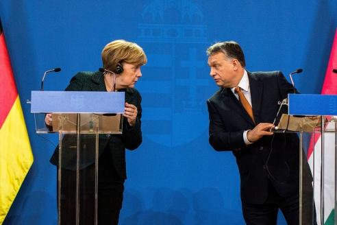 Встреча канцлера Германии А.Меркель и премьер-министра Венгрии В.Орбана в Будапеште. 2 февраля 2015 г.