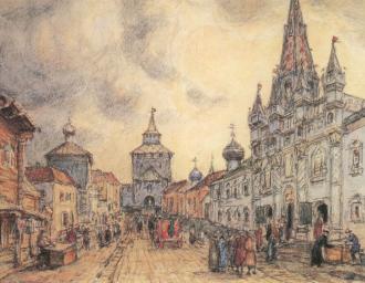 """""""Никольская улица в конце XVII века (вид с веверо-востока)"""" А.М. Васнецов"""